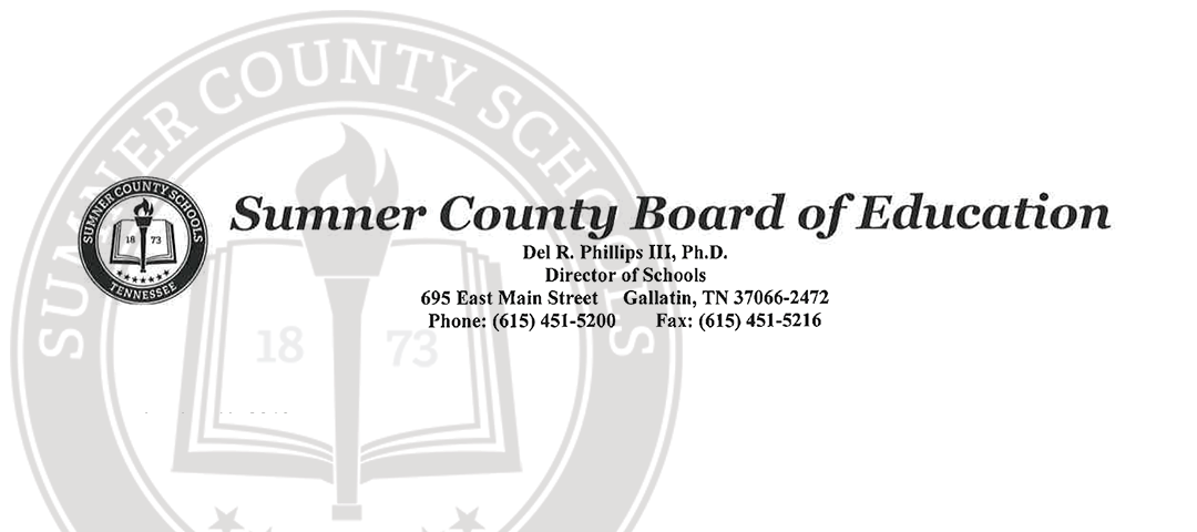 Sumner County Schools Closed for the Remainder of the School Year.